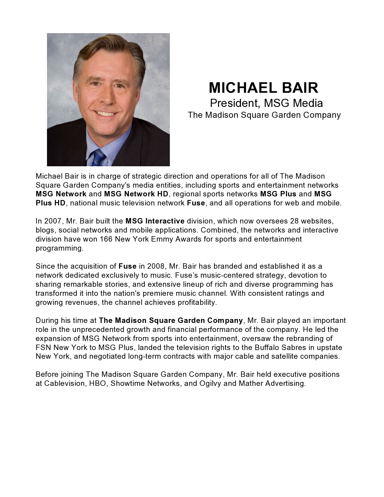 Press release templatemichael bair president msg media for Ceo press release template